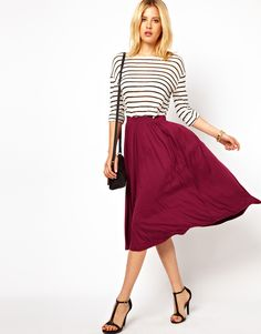 "The perfect ""midi"" skirt for fall. www.withlovefromkat.com"