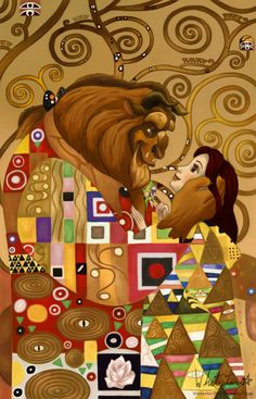 Beauty & the Beast's Belle and Gaston a la Gustav Klimt's The Kiss