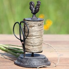 $22.75 Décor Steals -- ROOSTER ROTATING STRING HOLDER WITH SHEARS - decor steals (one deal a day)