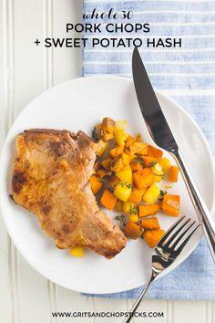whole30 pork chops and sweet potato hash - Grits & Chopsticks