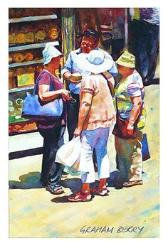"""Buying a cheese by Graham Berry Watercolor ~ 11"""" x 8"""""""