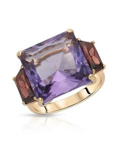 CASATO - Made in Italy - Brand New Ring with 17.65ctw Precious Stones - Genuine Amethyst, Super Clean Diamonds and Garnets -18K Two tone Gold. Total item weight 9.1g - Certificate Available. | Bidz.com Jewelry Auctions