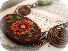 Necklace  Polymer Clay  Embroidered   Copper by MoobieGraceDesigns