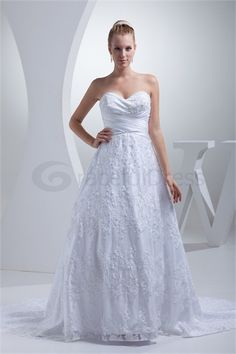 Satin Empire Court Train Zipper-back Sleeveless Wedding Dress  http://www.GracefulDress.com/Satin-Empire-Court-Train-Zipper-back-Sleeveless-Wedding-Dress-p19203.html