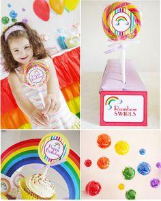 Rainbow party - simple party favor=huge lollipop.