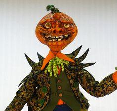 Handmade OOAK Halloween Parnel the Dancing Pumpkin Head Man Self Standing Pose-able Doll