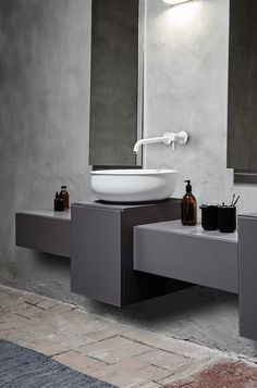 This minimal bathroom suite by Norm Architects is based on the shape of roll-top antique bathtubs. Bad Inspiration, Bathroom Inspiration, Interior Design Inspiration, Budget Bathroom, Bathroom Renovations, Bathroom Interior, Bathroom Ideas, Minimal Bathroom, Modern Bathroom
