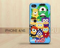 Despicable Me, Minion Avengers iPhone 4 Case, iPhone 4s Case, iPhone 4 Cover, Hard iPhone 4 Case, Soft TPU silicone case
