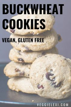 Vegan and Gluten Free Chocolate Cranberry Buckwheat Cookies - by Veggie Lexi Healthy Vegan Dessert, Cake Vegan, Vegan Desserts, Dessert Recipes, Vegan Sweets, Vegan Food, Vegan Baking, Healthy Sweets, Vegan Snacks