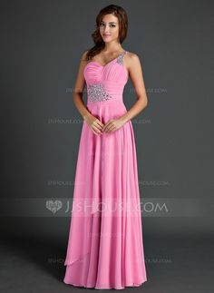 Holiday Dresses - $138.69 - A-Line/Princess One-Shoulder Floor-Length Chiffon Holiday Dress With Ruffle Beading (020015525) http://jjshouse.com/A-Line-Princess-One-Shoulder-Floor-Length-Chiffon-Holiday-Dress-With-Ruffle-Beading-020015525-g15525