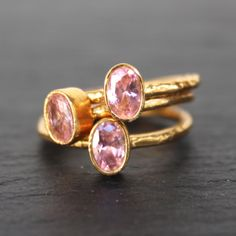 Nara Ring - 24k Gold Dipped Pink Crystal Solitaire Stackable Ring – Mei Elizabeth