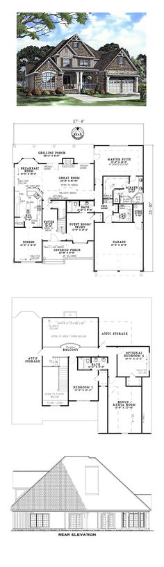 European House Plan 61333 | Total Living Area: 2481 sq. ft., 4 bedrooms and 3 bathrooms. A large covered porch welcomes you and your guests inside where the great room will set the perfect mood for all occasions. A fireplace and French doors to the rear grilling porch help to enhance the great room. #houseplan #europeanstyle