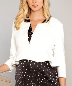 Loving this Angel Ivory Cropped Ruffle Maternity Evening Jacket on #zulily! #zulilyfinds