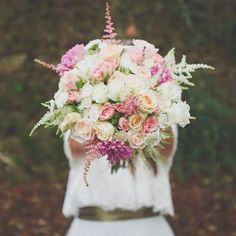 Pink and white bouquet roses