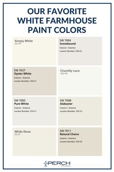 These are the best white paint colors out there! The most popular white farmhous… These are the best white paint colors out there! The most popular white farmhouse paint colors according to designers and architects! White Exterior Paint, Exterior Paint Colors For House, Bedroom Paint Colors, Paint Colors For Home, Exterior Colors, Paint Colours, Off White Paint Colors, Cream Paint Colors, Ceiling Paint Colors