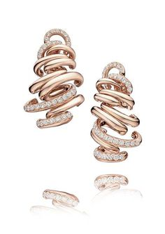 Rose gold de GRISOGONO earrings from the new Vortice fine jewellery collection, set with 78 white diamonds.