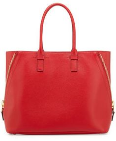 Tom Ford Jennifer Trapeze Calfskin Tote Bag, Dark Orange on shopstyle.com