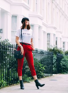 Red Cigarette Trousers and Slogan Tees