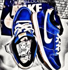 """#SkeeLocker 134/365: Nike SB Low """"Chun Li"""" from the Street Fighter pack. Anyone who likes kicks (literally & figuratively... Figure It out) & played Street Fighter growing up has to love these. Suede, nylon, cartoon inside, & gum bottoms- can't ask for more"""
