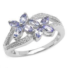 Malaika Sterling Silver Tanzanite Diamond Accent Flower Ring