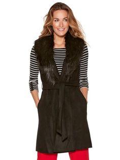 Faux fur trim sleeveless coat