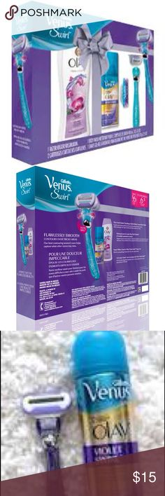 NEW- Venus Swirl & Oil of Olay Gift Set -Must Have NEW- Venus Swirl & Oil of Olay Gift Set -Must Have.  Retail 24.00- Includes 1 Razor 2 Cartridges 1 Body Wash & 1 Shave Gel.  Great set for any lady.  Bundle discount or Make an Offer Gillette Other