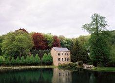 Stone house on lake