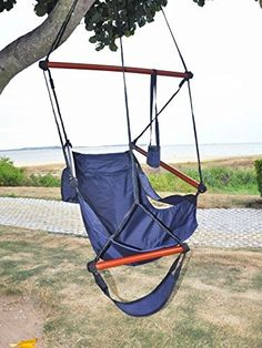 American Phoenix New Deluxe Patio Yard Hanging Hammock Air Chair Swing Hanging Chair Sky Ride with Solid Wood Blue *** You can find more details by visiting the image link.