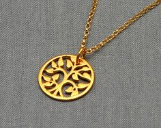 Gold Tree of Life Necklace, Small Gold  Vermeil, Gold Filled - pinned by pin4etsy.com