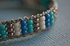Blue Seed Bead Bracelet by treeleafjewellery on Etsy