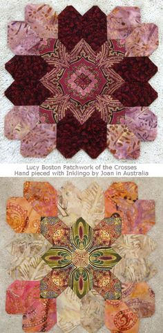 Joan in Australia fussy cuts with Inklingo and hand pieces with a running… Hexagon Quilt, Square Quilt, Quilting Projects, Quilting Designs, Sewing Projects, Mosaic Patterns, Quilt Patterns, Small Quilts, Mini Quilts