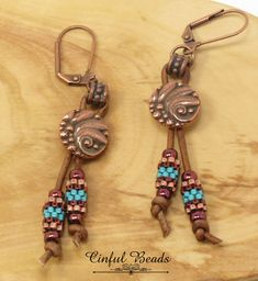Your place to buy and sell all things handmade Copper Earrings, Leather Earrings, Bead Earrings, Peyote Beading, Glass Jewelry, Beaded Jewelry, Handmade Leather Jewelry, Semi Precious Beads, Earrings