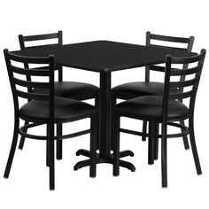 Flash Furniture 36 in. Round Black Laminate Table Set with 4 Ladder Back Metal Chairs - Black Vinyl Seat