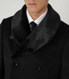 Mens Black Shawl Collar Overcoat - Reiss Mcgregor