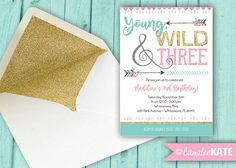 Young, Wild and Three - 3rd Birthday Party invitation - arrows flowers - gold glitter, pink, mint tiffany blue, grey - Tribal Boho Birthday - Girls Toddler Party ideas and themes - camp - glamping - teepee - feathers