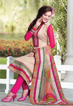Beige Banarasi Handloom Cotton Churidar Kameez