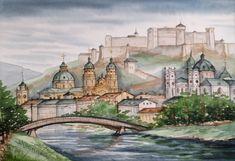 Custom Painting, Salzburg Austria,Travel Painting, Cityscape Watercolor,Original Architecture, Wiena, Prague, Old towns, House portrait