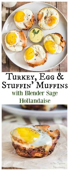 Turkey, Egg & Stuffin' Muffins with Blender Sage Hollandaise Sauce - The PERFECT Way to Use Up Your Turkey Day Leftovers!