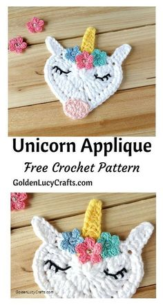 Crochet Unicorn Applique, free crochet pattern, #crochet, #freecrochetpattern, hert shaped, Valentine's Day, Mother's Day - GoldenLucyCrafts