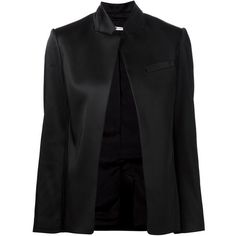 T By Alexander Wang Open Front Jacket (28.525 RUB) ❤ liked on Polyvore featuring outerwear, jackets, black, stand collar jacket, stand up collar jacket, t by alexander wang, open front jacket and long sleeve jacket