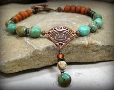 Tribal Bracelet Leather Cuff Bracelet Copper by StoneWearDesigns