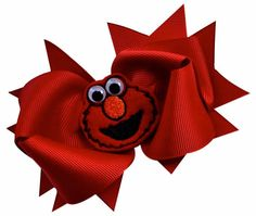 Elmo HAIR BOW featuring an Embroidered appliqués on a 4.5 Inch