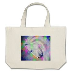 Rainbow Cubism Equine Art Large Tote Bag - accessories accessory gift idea stylish unique custom