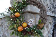 Owl Wreath Rustic Owl Wreath Fall Wreath by TheBloomingWreath, $49.99