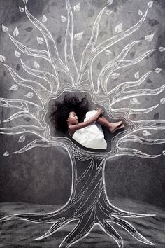 Black girl rests inside a graphic tree