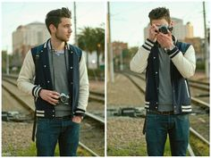 The perfect casual men's outfit Mens Fashion Blog, Best Mens Fashion, Men's Fashion, Letterman Jacket Outfit, Best Kids Costumes, Skinny Suits, Today's Man, Cool Jackets, Big Men