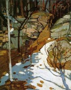 """Group of Seven painter - Tom Thomson - """"Snow And Rocks. Emily Carr, Canadian Painters, Canadian Artists, Abstract Landscape, Landscape Paintings, Group Of Seven Artists, Tom Thomson Paintings, Snow And Rock, Wow Art"""