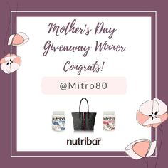Thank you to everyone who participated in our Mother's Day Giveaway! Congrats to the winner @mitro80 on Instagram! >>   Sad it's over? Don't worry - Stay tuned for more awesome future giveaways and new Nutribar products in the future!  Learn more about our products at Nutribar.com #Nutribar #NutribarGiveaway
