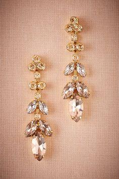 Gold Crystal Petals Earrings | BHLDN