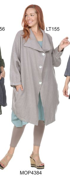 Match Point Linen Long Duster Jacket with Oversized Fit Lagenlook LT155